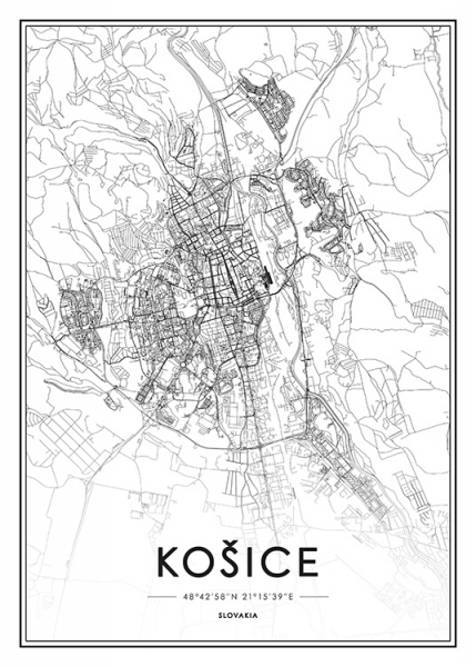 Košice Map Poster in the group Posters & Prints / Black & white at Desenio AB (13344)