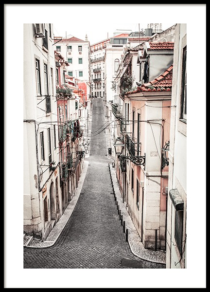 Pastel Lisbon Street Poster in the group Posters & Prints / Photography / Architecture  at Desenio AB (13386)