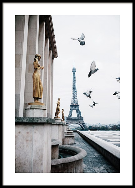Eiffel Tower and Flying Pigeons Poster in the group  at Desenio AB (13387)