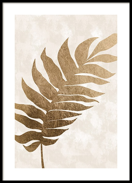 Golden Tropical Leaf Poster in the group Posters & Prints / Graphical at Desenio AB (13442)