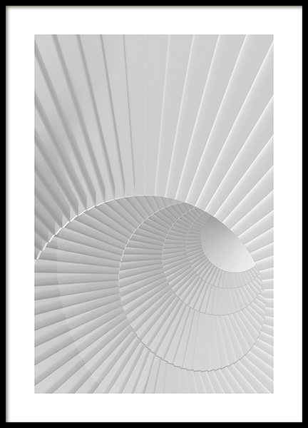 White Spiral Staircase Poster