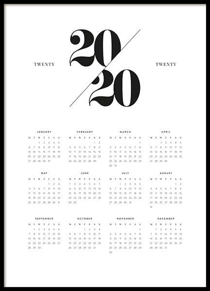 Calendar 2020 Poster in the group Posters & Prints / Text posters / Calendars 2020 at Desenio AB (13500)