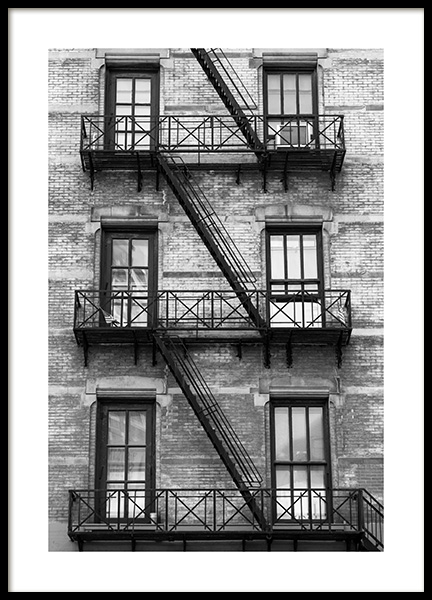 NY Fire Escape Poster in the group Posters & Prints / Maps & cities / World Cities at Desenio AB (13655)