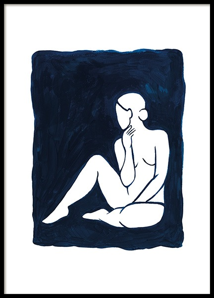 Woman in Blue Poster in the group Posters & Prints / Art prints / Minimalist Art at Desenio AB (13665)
