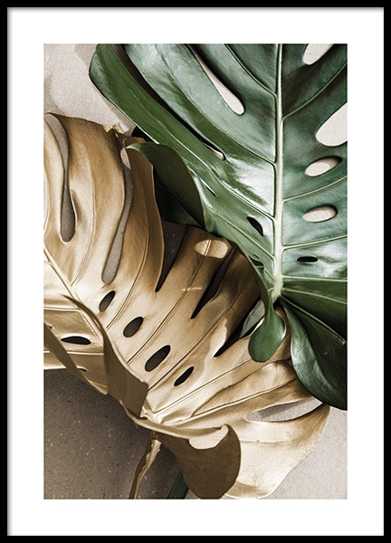 Gold Monstera No2 Poster in the group Posters & Prints / Botanical / Monsteras at Desenio AB (13668)