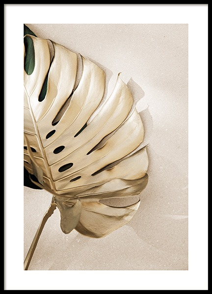 Gold Monstera No3 Poster in the group Posters & Prints / Botanical / Monsteras at Desenio AB (13669)