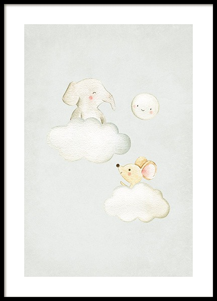 In the Clouds No2 Poster in the group Posters & Prints / Kids posters / Animal illustrations at Desenio AB (13718)
