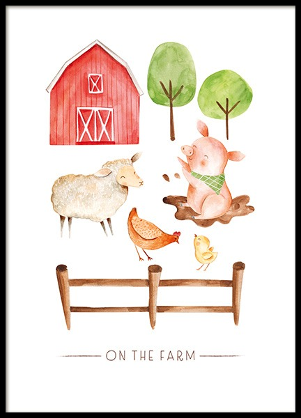 On the Farm No2 Poster in the group Posters & Prints / Kids posters / Animal illustrations at Desenio AB (13720)