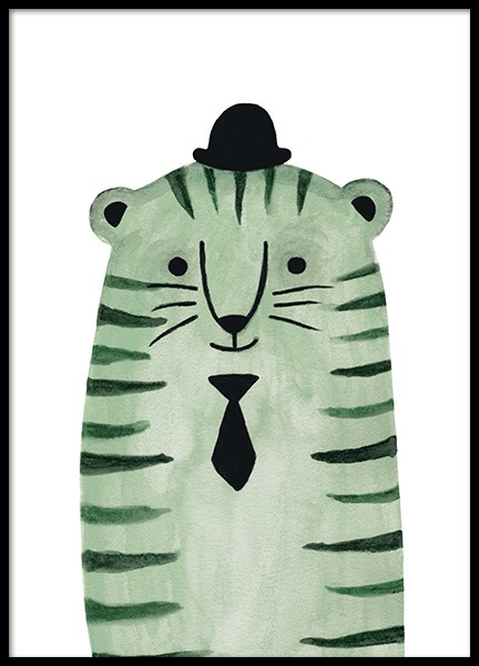 Green Tiger Poster in the group Posters & Prints / Kids posters / Animal illustrations at Desenio AB (13722)