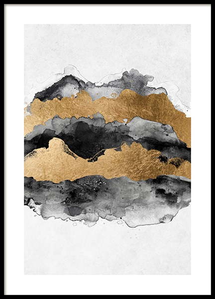Gold Aquarelle Poster in the group Posters & Prints / Art prints / Abstract art at Desenio AB (13761)