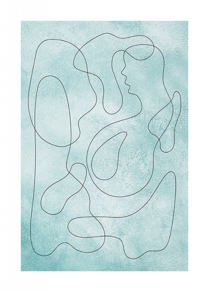 Teal Squiggles Poster in the group Posters & Prints / Art prints / Abstract wall art at Desenio AB (13776)