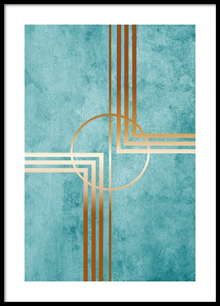 Teal and Gold Poster in the group Posters & Prints / Gold & silver at Desenio AB (13780)