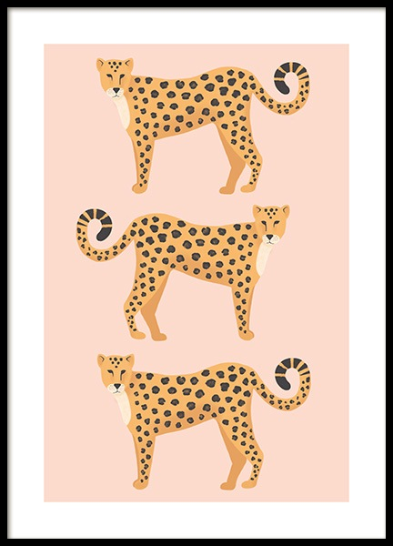 Three Leopards Poster in the group Posters & Prints / Insects & animals at Desenio AB (13781)