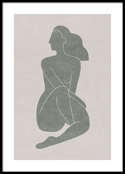 Seated Pose Green No1 Poster in the group Posters & Prints / Illustrations at Desenio AB (13799)
