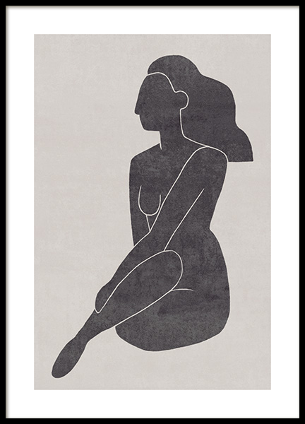 Seated Pose Black No2 Poster in the group Posters & Prints / Illustrations at Desenio AB (13802)
