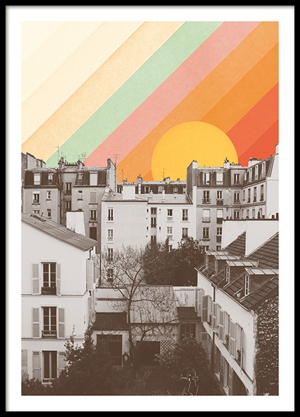 Rainbow Sky Above Paris Poster in the group Posters & Prints / Vintage at Desenio AB (13924)