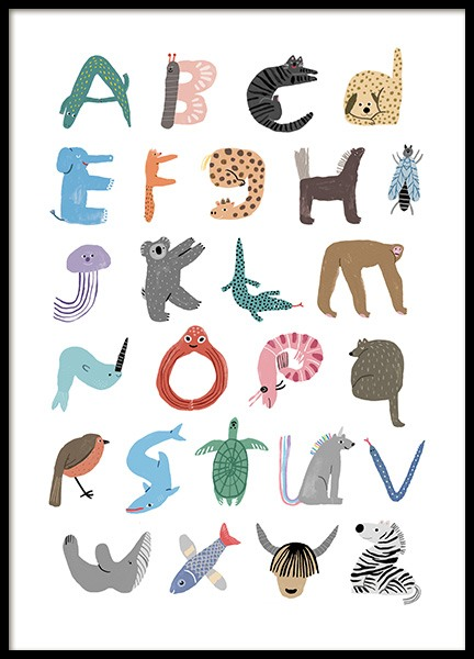 ABC of Animals Poster in the group Posters & Prints / Kids posters / Alphabet at Desenio AB (13937)