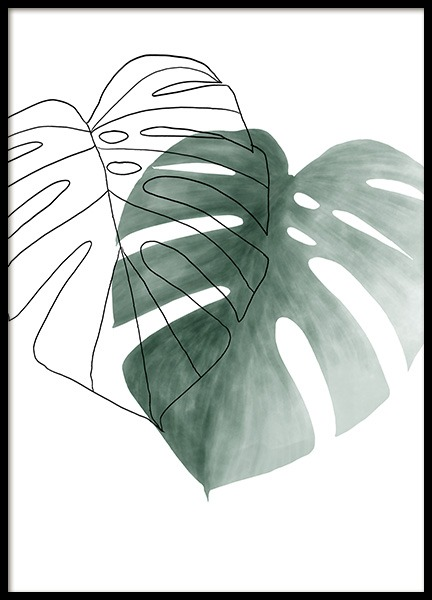 Watercolor Leaves No2 Poster in the group Posters & Prints / Botanical / Monsteras at Desenio AB (13990)