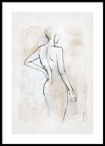 Abstract Body Sketch No2 Poster in the group Posters & Prints / Art prints / Watercolor paintings at Desenio AB (14056)