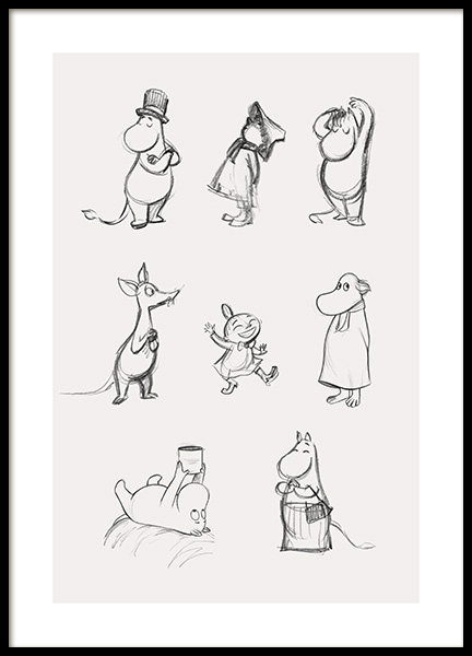 Moomin Characters No1 Poster in the group Posters & Prints / Kids posters / Moomin at Desenio AB (14063)