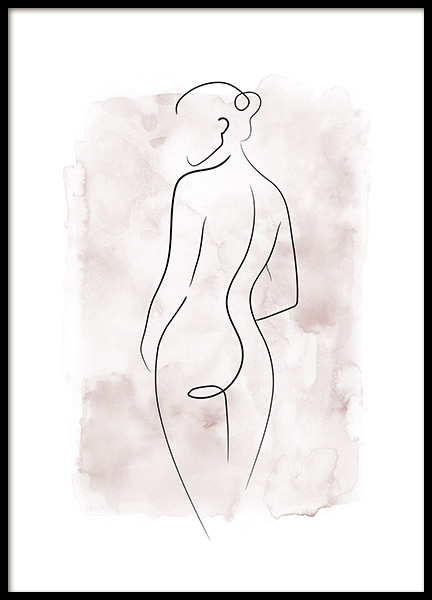 Watercolor Body Lines No1 Poster in the group Posters & Prints / Art prints / Line Art at Desenio AB (14138)