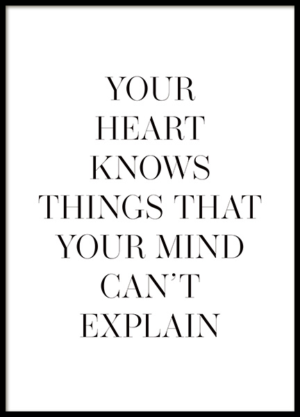 Your Heart Knows Poster in the group Posters & Prints / Text posters at Desenio AB (14143)