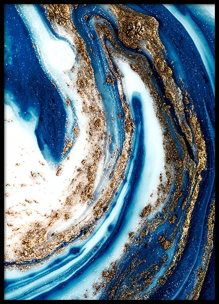 Blue and Gold Swirl No1 Poster in the group Posters & Prints / Art prints / Paintings at Desenio AB (14201)