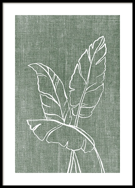Green Linen Leaves Poster in the group Posters & Prints / Botanical / Green plants at Desenio AB (14264)