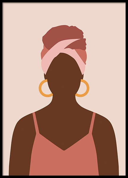 Woman With Hoop Earrings Poster in the group Posters & Prints / Illustrations at Desenio AB (14287)