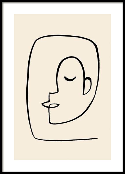 Abstract Line Faces No2 Poster in the group Posters & Prints / Art prints / Line Art at Desenio AB (14340)