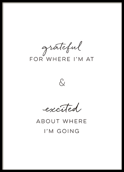 Grateful and Excited Poster in the group Posters & Prints / Text posters at Desenio AB (14398)