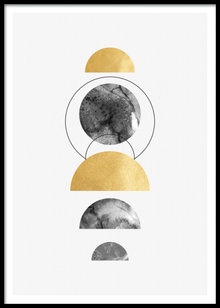Golden Half Circles Poster in the group Posters & Prints / Gold & silver at Desenio AB (14403)