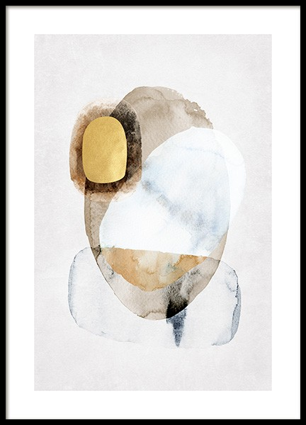 Golden Abstract No1 Poster