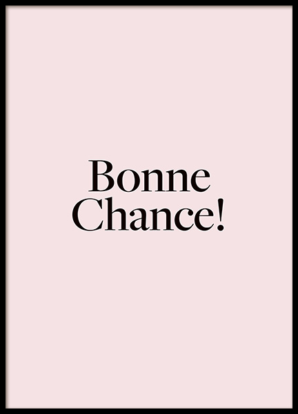 Bonne Chance Poster in the group Posters & Prints / Text posters at Desenio AB (14412)