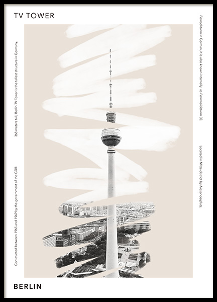 TV Tower Berlin Poster in the group Posters & Prints / Maps & cities / European cities at Desenio AB (14447)