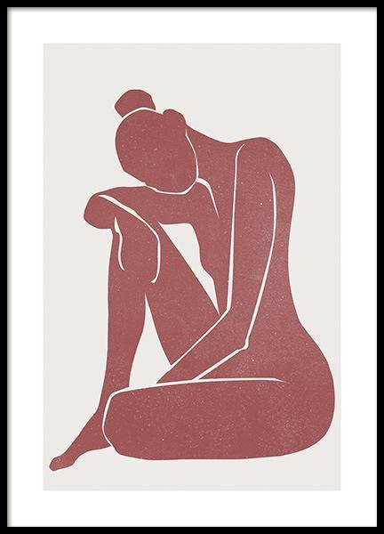 Burnt Sienna Figure Poster