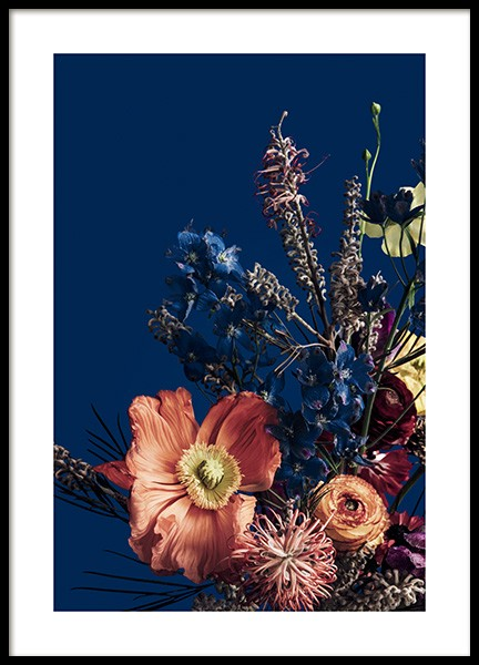 Blue Still Life with Flowers No2 Poster in the group Posters & Prints / Botanical / Flowers at Desenio AB (14604)