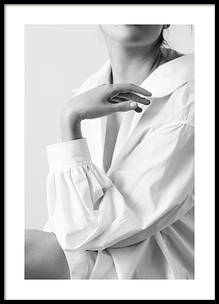 Woman in White Shirt Poster in the group Posters & Prints / Photography / Black & white photography at Desenio AB (14617)