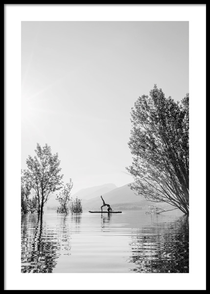 Surf Yoga Poster in the group Posters & Prints / Black & white at Desenio AB (14680)