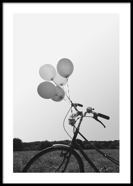 Balloon Bike Poster in the group Posters & Prints / Black & white at Desenio AB (14681)