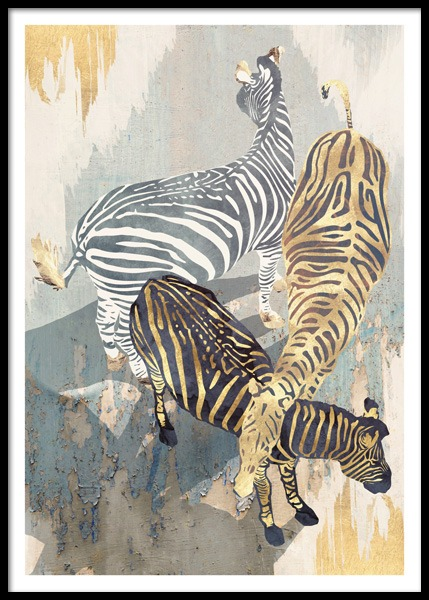 Metallic Zebras Poster in the group Posters & Prints / Illustrations at Desenio AB (14736)