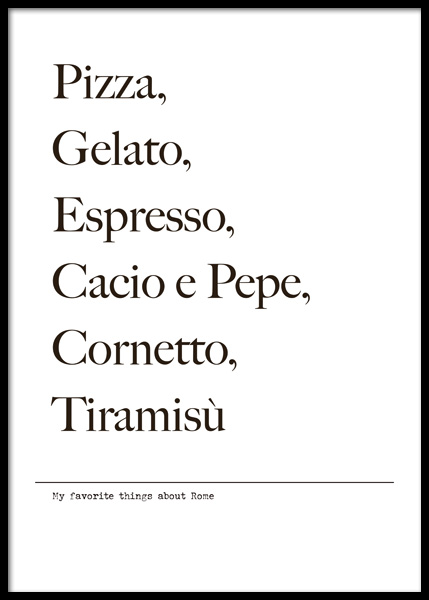 Favorite Things About Rome Poster in the group Posters & Prints / Text posters at Desenio AB (14774)