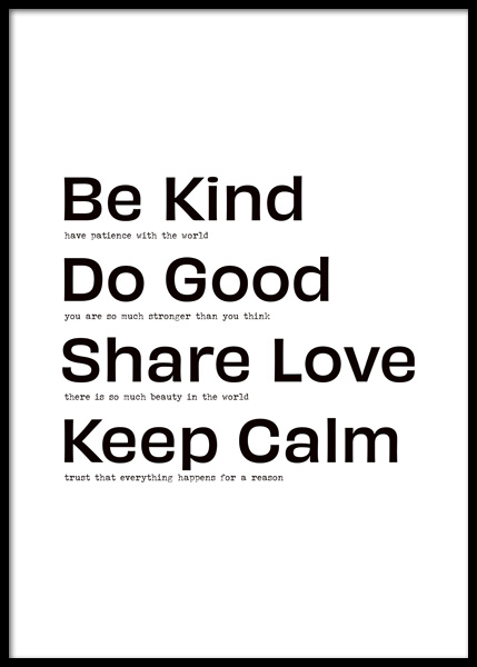 Be Kind Do Good Poster