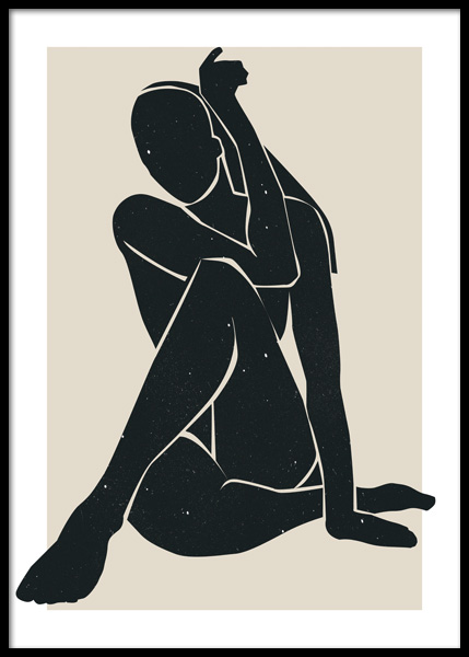 Charcoal Black Figure Poster in the group Posters & Prints / Art prints at Desenio AB (14846)
