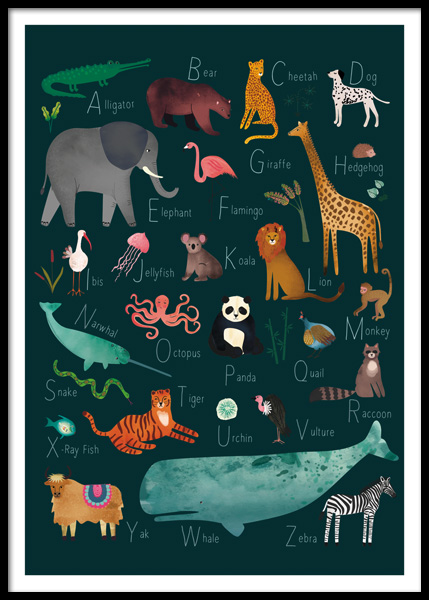 Alphabet Animals 2 Poster in the group Posters & Prints / Kids posters / Alphabet at Desenio AB (14876)