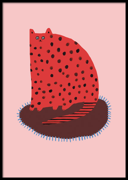Red Cat Poster in the group Posters & Prints / Kids posters / Animal illustrations at Desenio AB (14878)