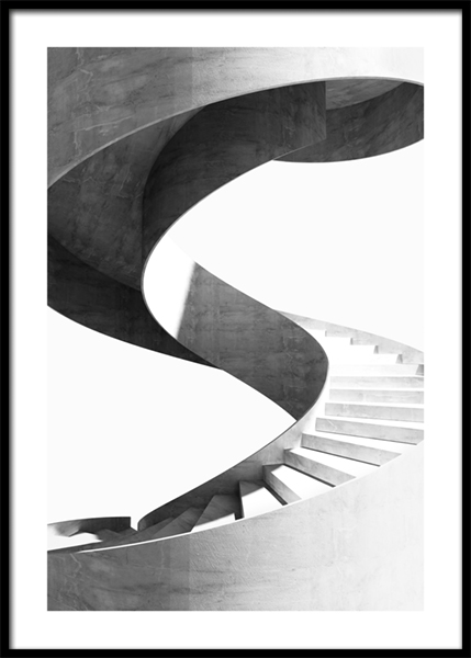 Black and White Spiral Staircase Poster