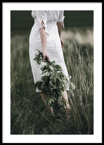 Woman With Bouquet Poster