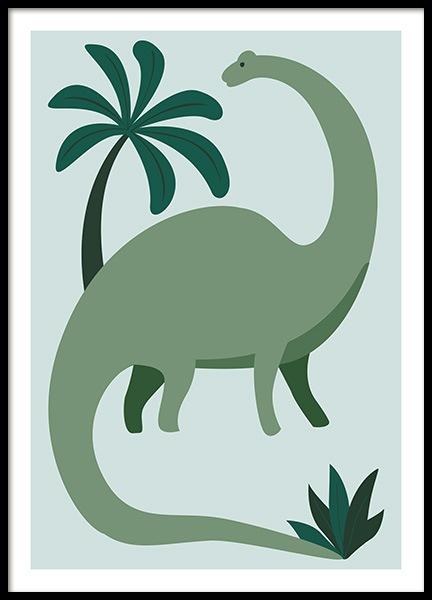 Green Dinosaur Poster