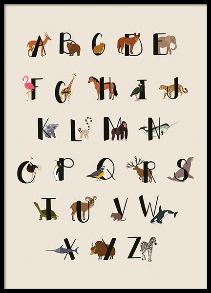 Animals Of The World Alphabet Poster